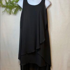 Black Sleeveless Chiffon Hi-Lo Dress  Size 14